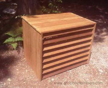 cache et habillage pompe chaleur et climatiseur en bois exotique. Black Bedroom Furniture Sets. Home Design Ideas
