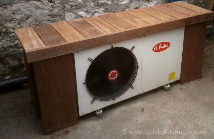 Favorit cache et habillage pompe à chaleur et climatiseur en bois exotique HO44