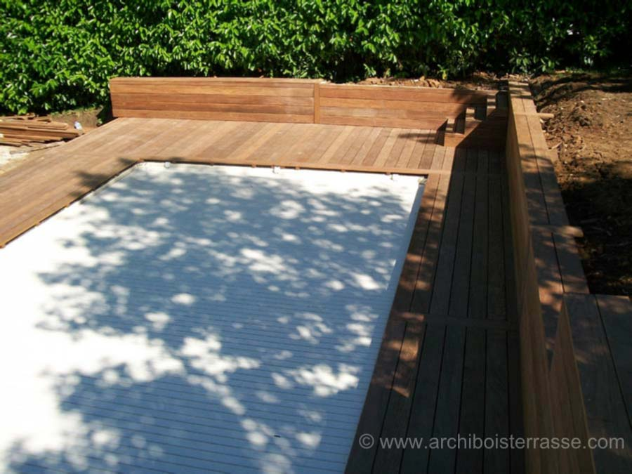 Abri garde corps bois et inox protections de piscine for Construction piscine inox