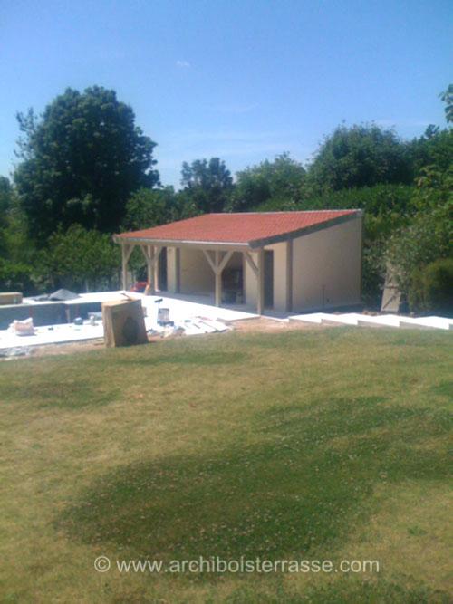 Pool house abri cabane pavillon de jardin et plage deck de piscine - Abri de jardin pool house ...