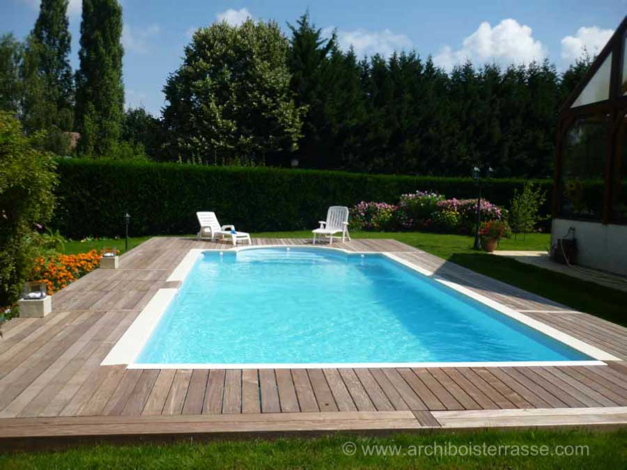 terrasse bois et tour de piscines clairage led. Black Bedroom Furniture Sets. Home Design Ideas