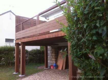 terrasse bois en hauteur sur pilotis avec pare vue et. Black Bedroom Furniture Sets. Home Design Ideas
